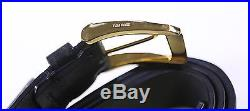NWT New TOM FORD Black Leather with Gold Buckle Men's Belt 46 / 115