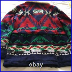 NWT Ralph Lauren POLO Belted Wool Aztec Southwest Jacket Lamb Collar Size Large