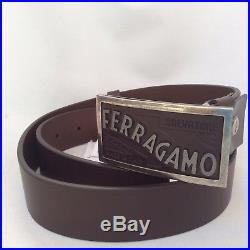 NWT SALVATORE FERRAGAMO brown (Hickory) size 32 leather buckle Belt $395