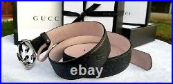 New Authentic Black Gucci Leather Belt Interlocking Double GG Buckle Fits 36
