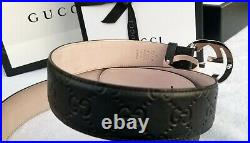 New Authentic Black Gucci Leather Belt Interlocking Double GG Buckle Fits 90 32