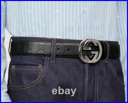 New Authentic Black Gucci Signature Leather Belt Interlocking Double GG Buckle