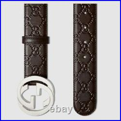 New Authentic Brown Gucci Supreme Signature Leather Belt with GG Buckle With Tag