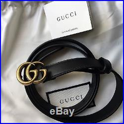 New Authentic GUCCI Leather belt with double G buckle 90 cm