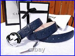 New Authentic Gucci Blue Leather Belt Interlocking Double GG Buckle Fits 32 Fall