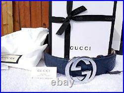 New Authentic Gucci Blue Leather Belt Interlocking Double GG Buckle Fits 34 Fall