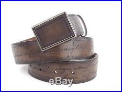 New BERLUTI Paris Tobacco brown Patina Leather Scritto Belt buckle sz 75 30