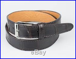 New. BRIONI Brown Crocodile Leather Mens Silver Buckle Belt Size 95/38 $1495