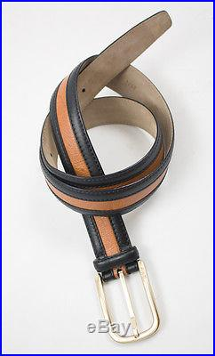 New BRIONI Italy Black Brown Genuine Ostrich Leather Belt 34 / 90 MSRP $995