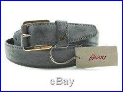 New BRIONI Italy Blue Solid Brass Genuine Suede Leather Belt 36 38 /100 NWT $595