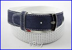 New BRIONI Italy Navy Lizard Skin & White Calf Leather Belt 40 / 105 MSRP $995