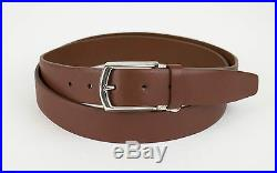 New BRIONI Men's Brown Leather Solid Brass Buckle Belt Size 48 US 120 EU $595
