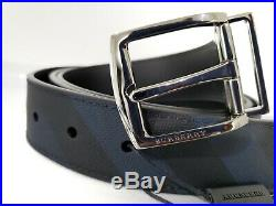 New BURBERRY Men's Joe London Check Pin Buckle Belt in Charcoal/Black 30 to 42