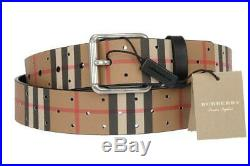 New Burberry Fife Roller Buckle Vintage Perforated Check Leather Belt 110/44