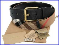 New Burberry Grainy Leather House Check Mark Roller Buckle Belt 110/44