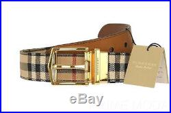 New Burberry Horseferry Check James Leather Reversible Pin Buckle Belt 90/36