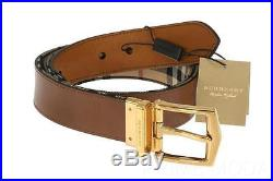 New Burberry Horseferry Check James Leather Reversible Pin Buckle Belt 95/38