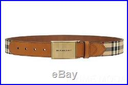 New Burberry Horseferry Check Logo Brown Leather Buckle Belt 85/34