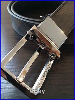 New Burberry Men's Webster Smoked Check 30MM Reversible Buckle Belt Size 85 / 34