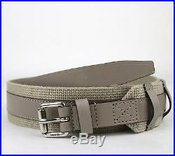 New GUCCI Mens Leather/Fabric Belt with Square Buckle 100/40 Beige 341744 1523