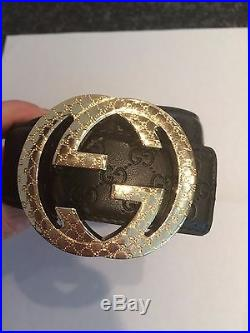 New Gucci Belt Gold Buckle and black belt