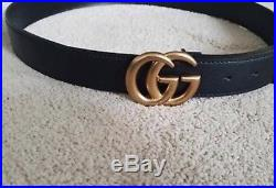 New Gucci Black Belt With Signature Double G Buckle adjustable unisex