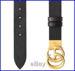 New Gucci Black Brown Leather Double G Buckle Logo Belt 105/42