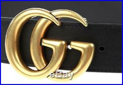 New Gucci Black Leather Marmont Large Double G Buckle Belt 80/32 100% Authentic