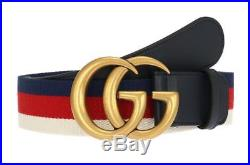 New Gucci Blue Leather Double G Buckle Web Detail Belt 80/32