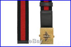 New Gucci Current Bee Embroid Blue Leather Web Detail Logo Buckle Belt 100/40
