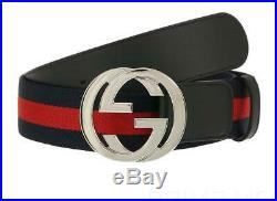 New Gucci Current Blue Red Web Detail Leather Interlocking G Buckle Belt 105/42