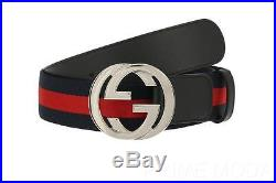 New Gucci Current Blue Red Web Detail Leather Interlocking G Buckle Belt 95/38
