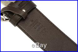 New Gucci Current Luxury Dark Brown Leather Double G Logo Buckle Belt 95/38