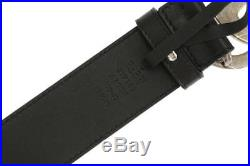 New Gucci Current Luxury Double G Buckle Black Leather Belt 100/40