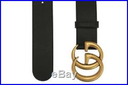 New Gucci Current Luxury Double G Buckle Black Leather Belt 105/42