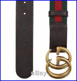New Gucci Current Web Detail Canvas Brown Leather Double G Buckle Belt 100/40