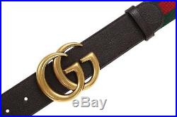 New Gucci Current Web Detail Canvas Brown Leather Double G Buckle Belt 105/42