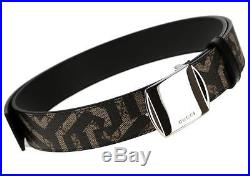 New Gucci Gg Supreme Canvas Leather Caleido Print Logo Buckle Belt 95/38