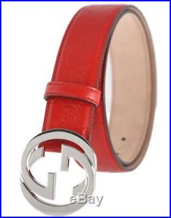 New Gucci Guccissima Red Leather Interlocking G Palladium Buckle Belt 95/38
