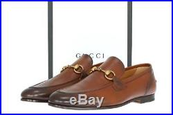 New Gucci Jordaan Cuir Brown Leather Horsebit Loafers Dress Shoes 9/us 9.5