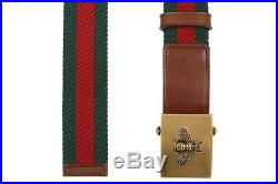 New Gucci Luxury Current Web Canvas Brown Leather Bee Buckle Belt 100/40