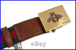 New Gucci Luxury Current Web Canvas Brown Leather Bee Buckle Belt 90/36