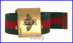 New Gucci Luxury Current Web Canvas Brown Leather Bee Buckle Belt 95/38