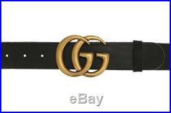New Gucci Luxury Double G Buckle Unfinished Black Leather Belt 110/44