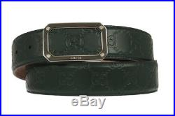 New Gucci Luxury Guccissima Print Green Leather Dress Logo Buckle Belt 100/40