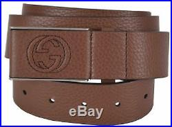 New Gucci Men's 368188 Brown Leather Interlocking GG Buckle Belt 38 95 MEDIUM