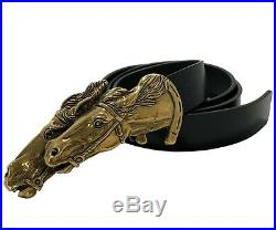 New, Gucci Men's Black Leather Belt With Bronze Horses Buckle, 105/42