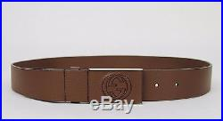 New Gucci Men's Brown Leather Belt Square GG Buckle 95/38 368188 2138