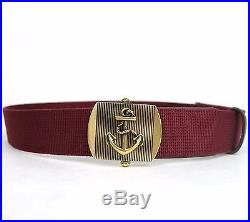 New Gucci Men's Burgundy Fabric Belt Military Anchor Brass Buckle 375191 6148