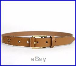 New Gucci Men's Light Brown Leather Belt Gold Buckle Feather Detail 375182 2613